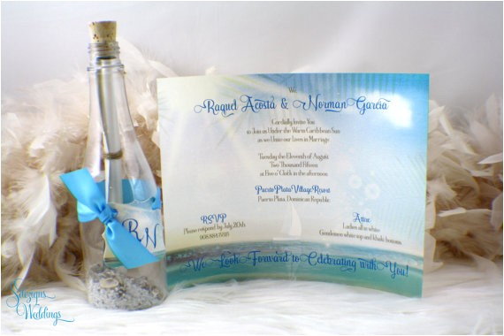 message bottle beach wedding invitation