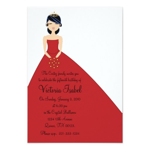english red princess quinceanera quince invitation 161671599122233228