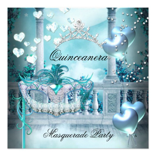 masquerade quinceanera 15 teal birthday party invitation 161165378385316238