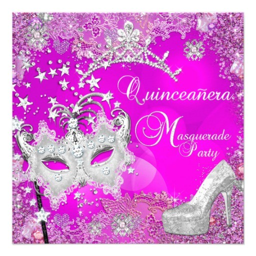 masquerade quinceanera 15th party pink tiara shoe invitation 161334570678704323