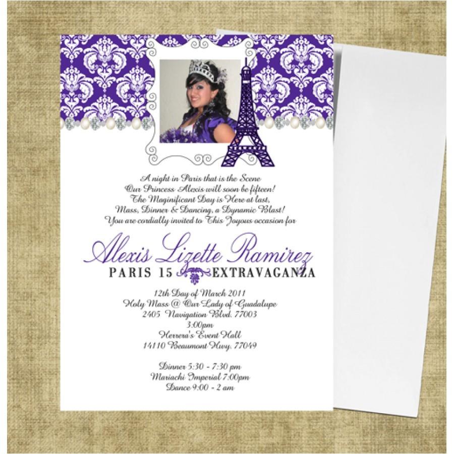 eiffel tower quinceanera invitations