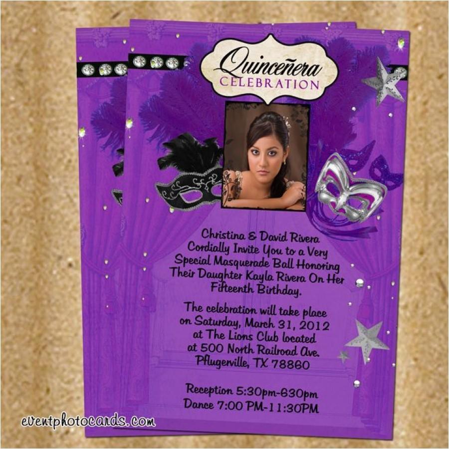 purple silver masquerade quinceanera invitations