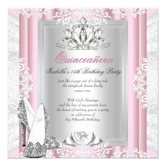 quinceanera 15th birthday party light pink shoes card 161861230688079257