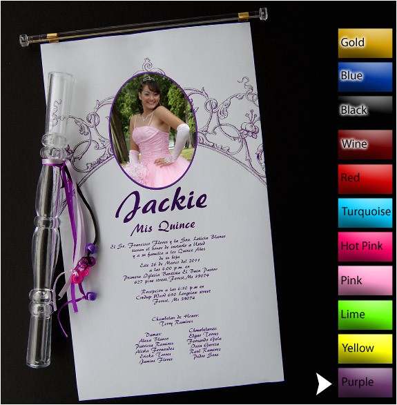 scroll 01 quinceanera invitations