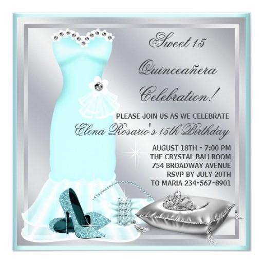 elegant sivler and teal blue quinceanera invitation 161995784235959651