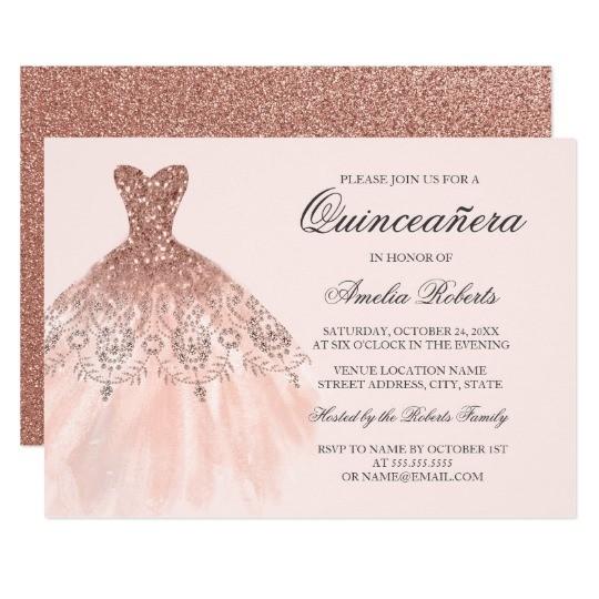 rose gold sparkle dress quinceanera invitation 256946566723447393