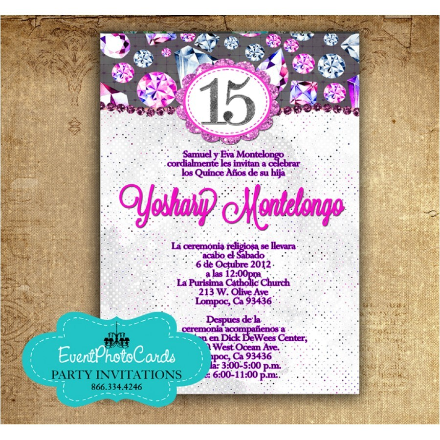 purple fuschia quinceanera invitations in spanish