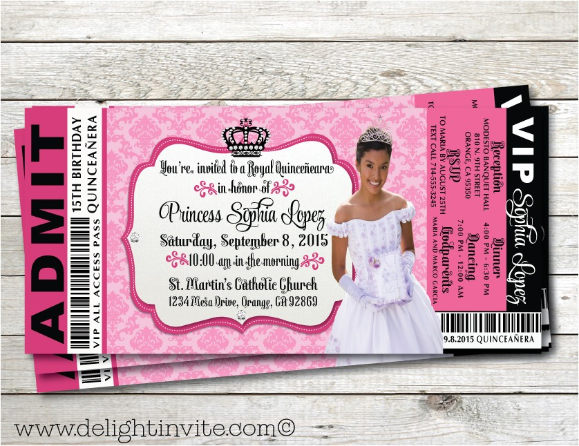 Quinceanera Ticket Invitations Royal Princess Quinceanera Ticket Invitation Vip Ticket to