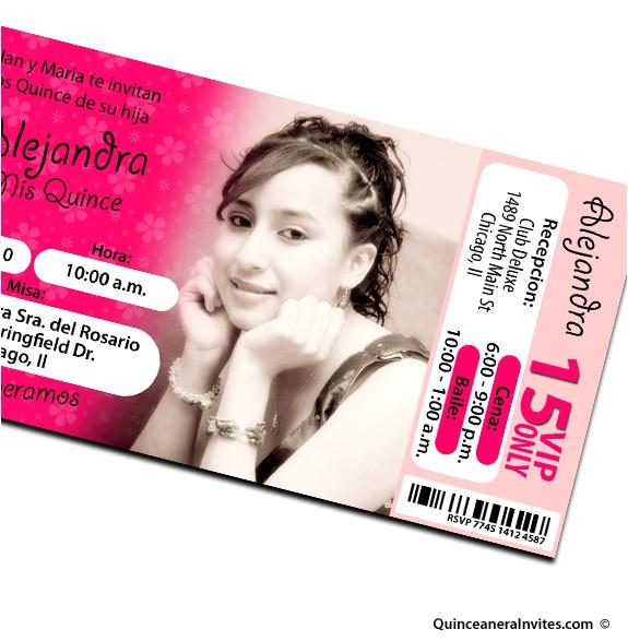 Quinceanera Ticket Invitations Ticket Quinceanera Invitations