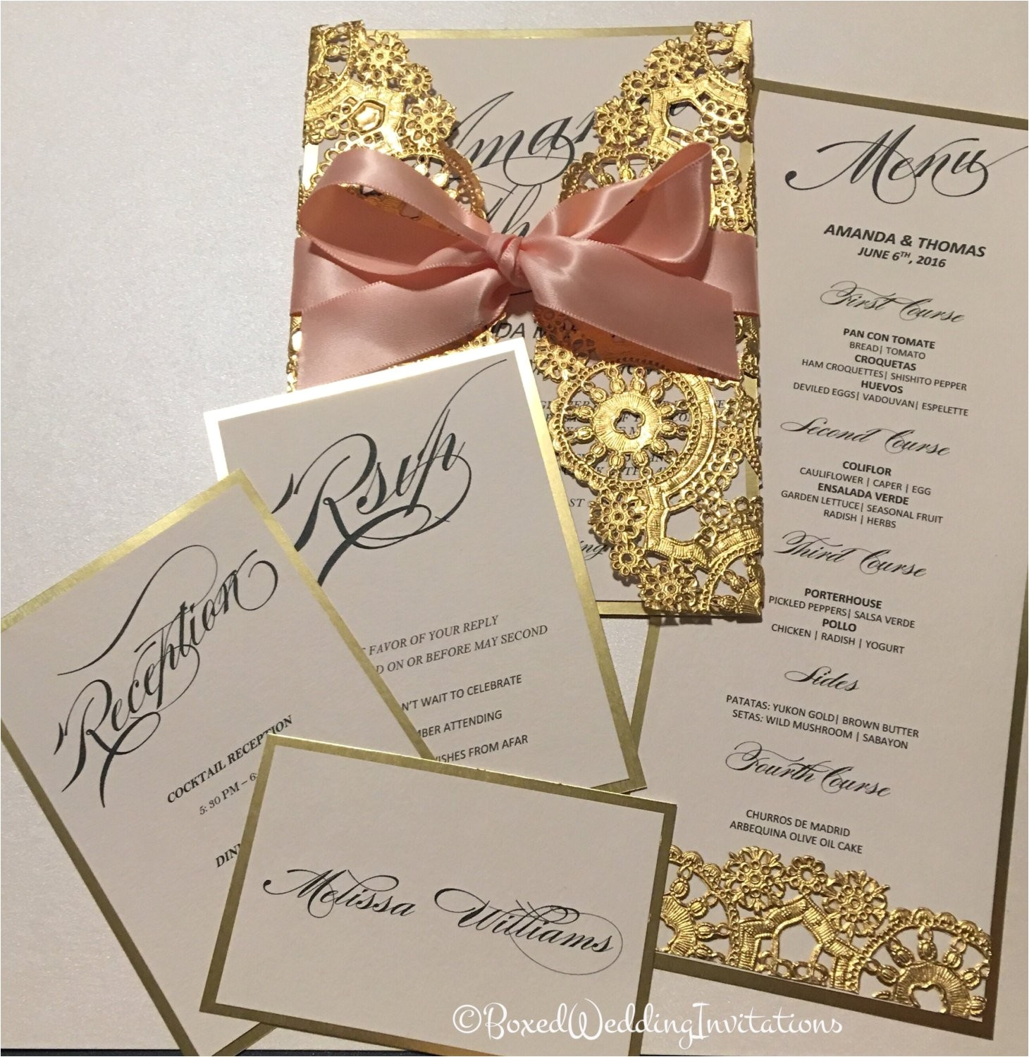 gold invitation cardsave the date