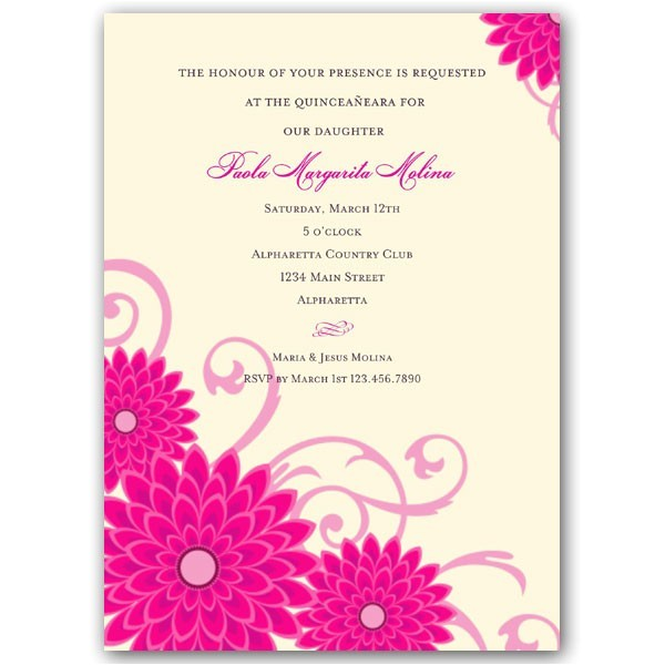 Quotes for Quinceanera Invitations Dahlias Pink Quinceanera Invitations Paperstyle