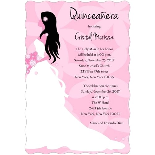 quinceanera invitations templates in spanish lovely classic hot pink quinceanera party invitations