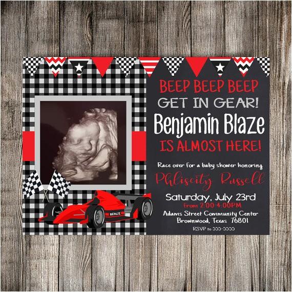 digital race car baby shower invitation