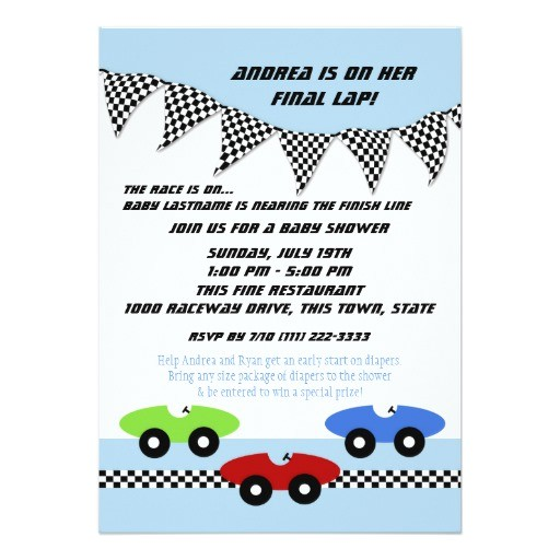 race car baby shower 5x7 paper invitation card 161052346350644104