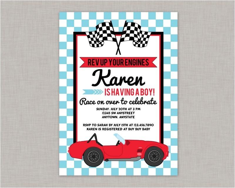 race car baby shower invitation race car