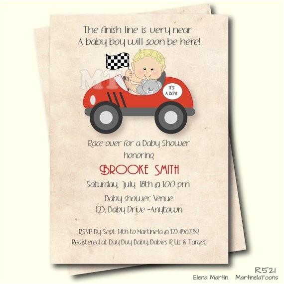 race car baby shower invitation retro 2