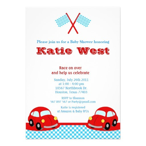 vintage red race car baby shower invitation 161882379354559408