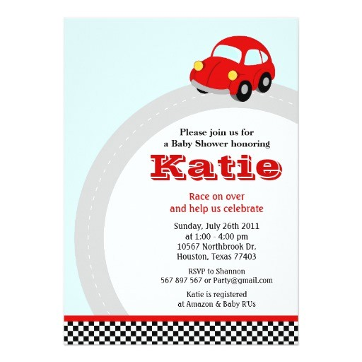 vintage red race car baby shower invitation 161063863855711556