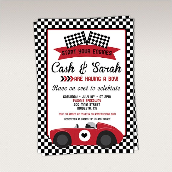 vintage red racing car baby shower party