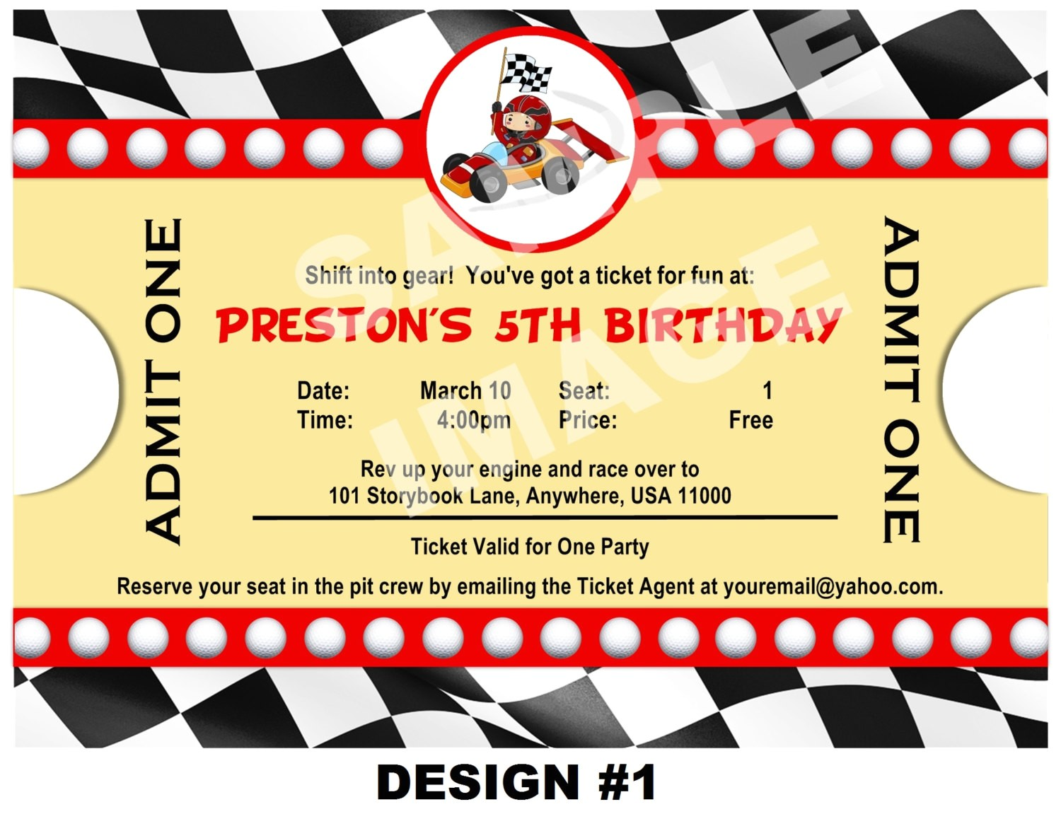 free race car birthday invitation