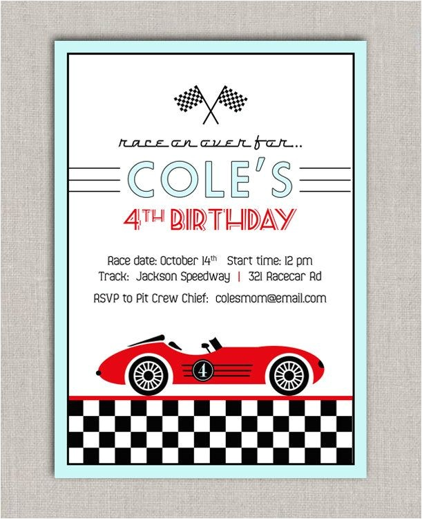 post racing birthday party invitation cards templates 312219