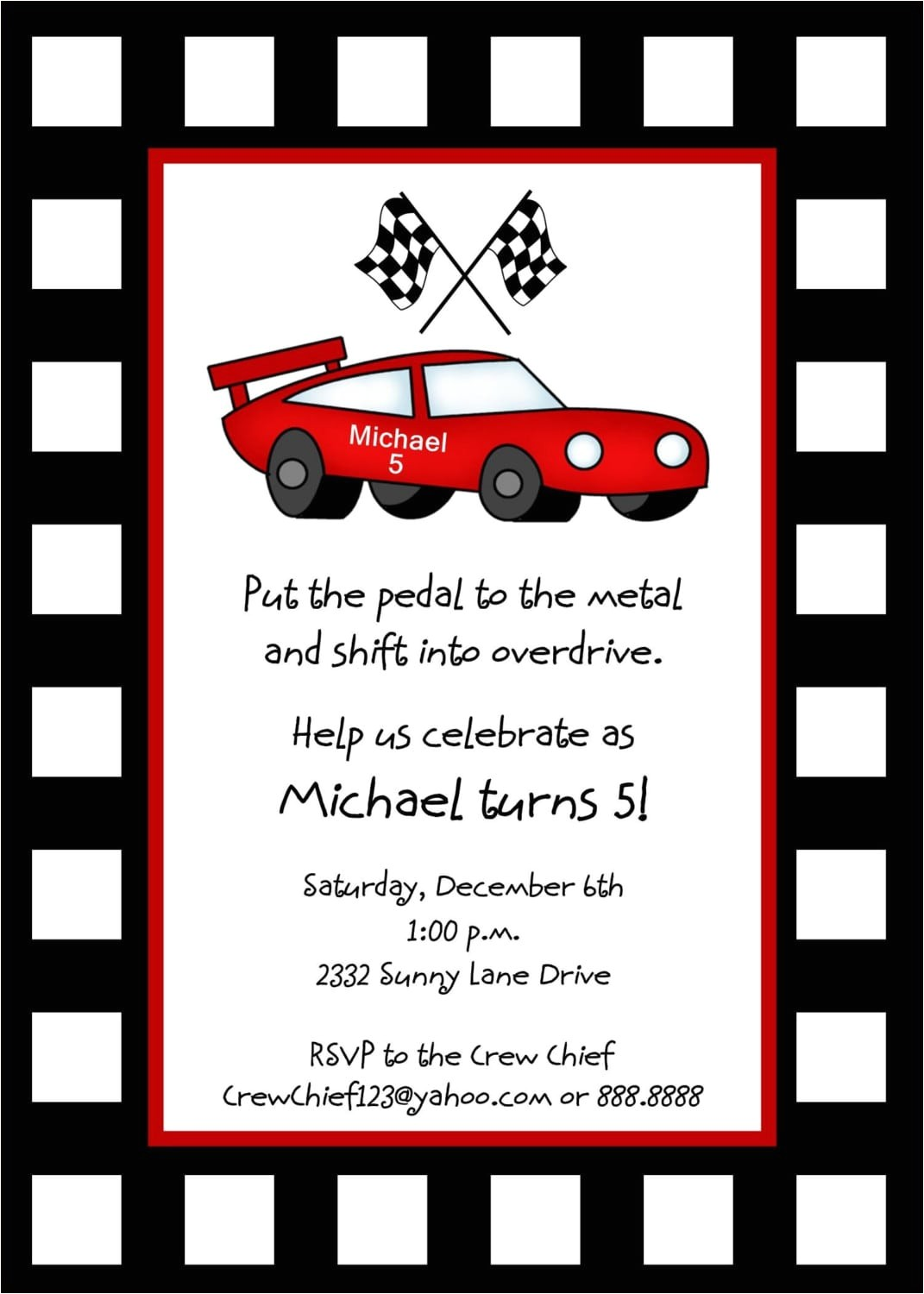 race car birthday invitation template free