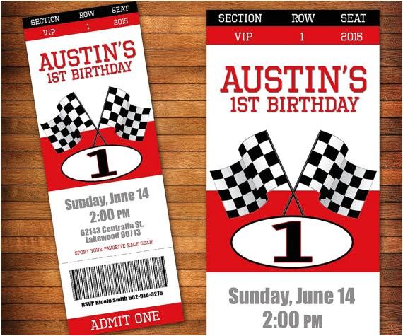 race car birthday invitation racing