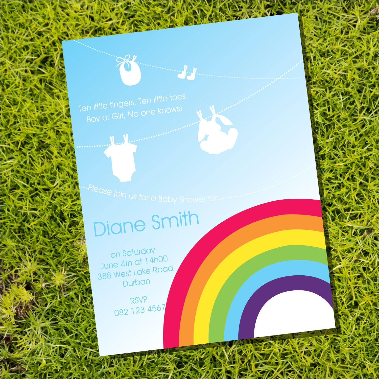 colorful rainbow baby shower invitation