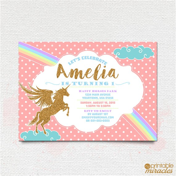 printable pink gold unicorn invitation rainbow