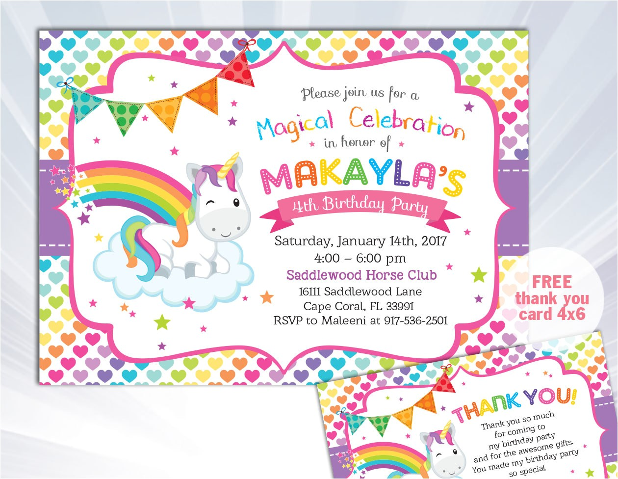 rainbow unicorn invitation unicorn