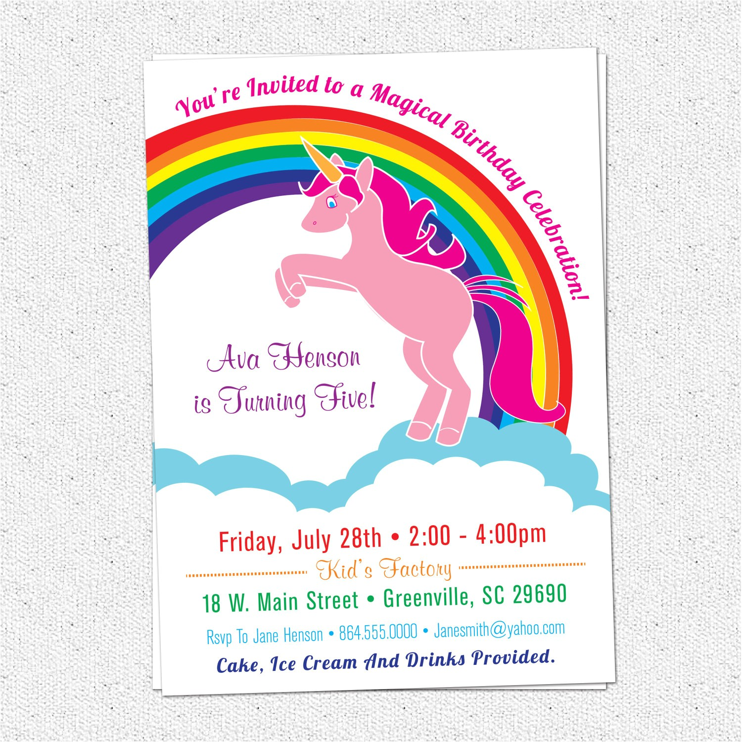 6809980 unicorn birthday party invitations rainbow pink pony girl girlie girly