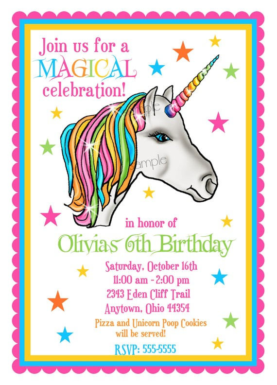 unicorn invitations unicorn birthday