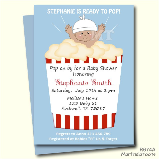 Ready to Pop Baby Shower Invitations Free Ready to Pop Baby Shower Invitation Cute Popcorn Babyshower