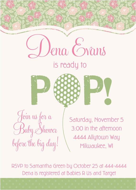 ready pop balloon baby shower invitations