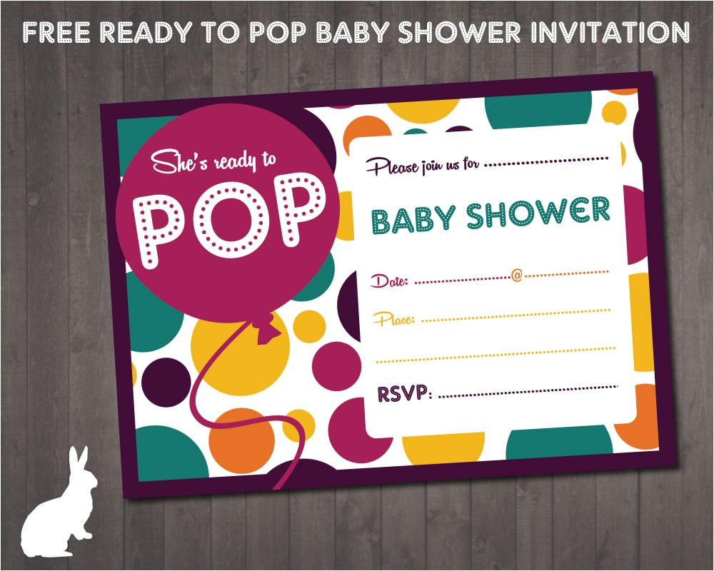 Ready to Pop Baby Shower Invitations Free Ruby and the Rabbit