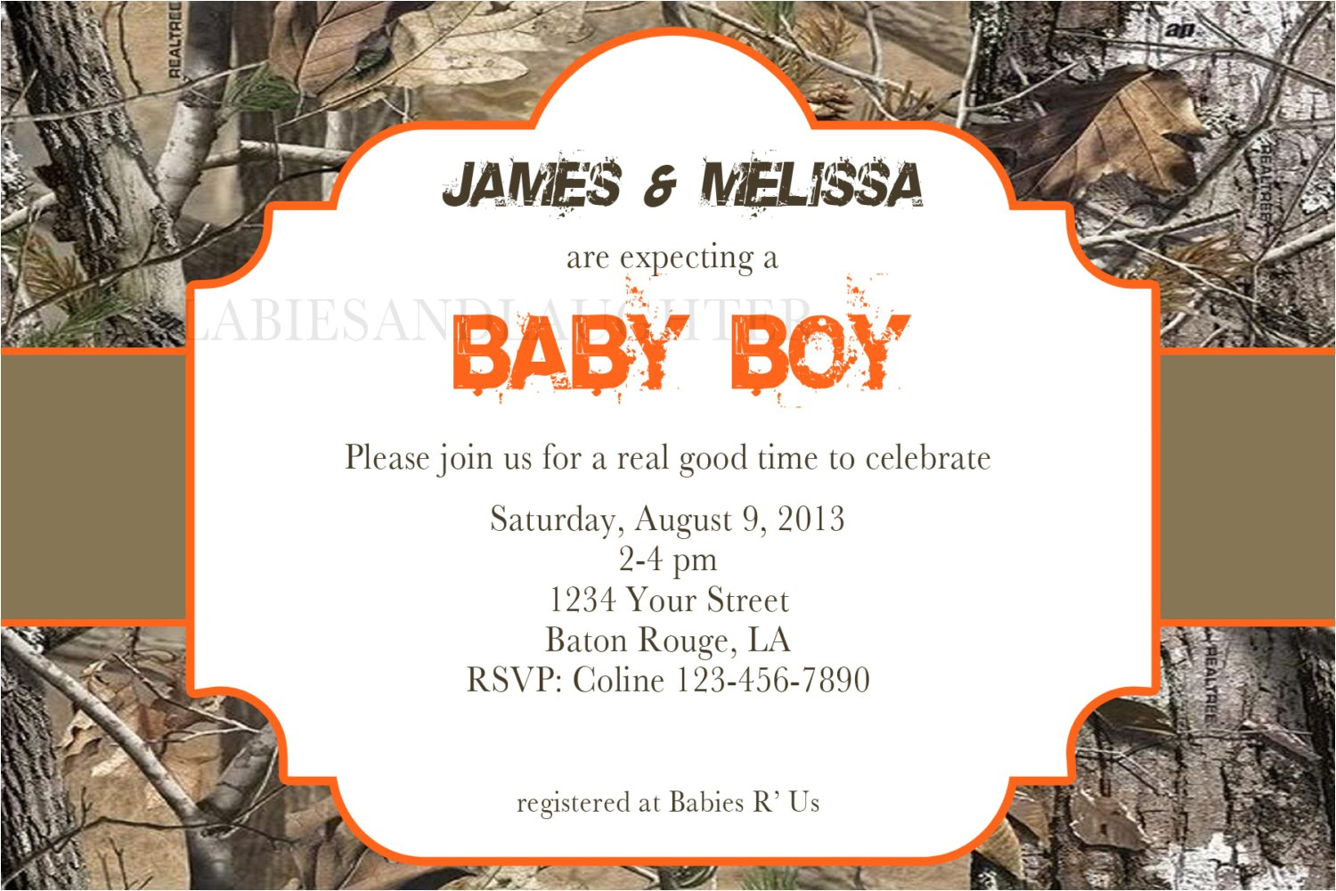 girl or boy realtree camo baby shower