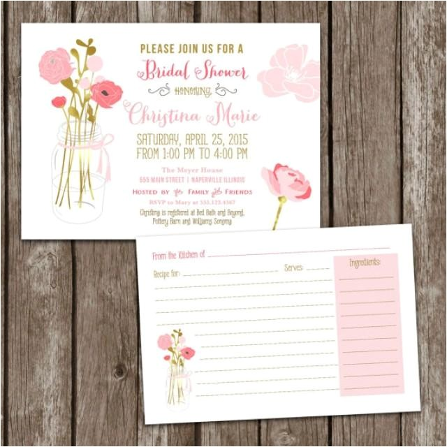 sale digital printable mason jar bridal shower invitations recipe card bridal party invite bridal shower wedding mason jar invite