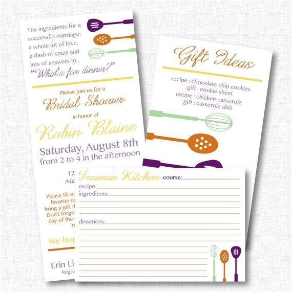 Recipe themed Bridal Shower Invitations Bridal Shower Invitation Recipe theme Printable