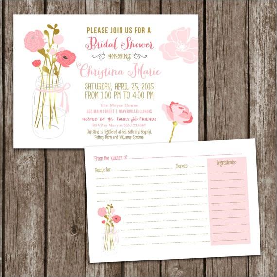 sale digital printable mason jar bridal shower invitations recipe card bridal party invite bridal shower wedding mason jar invite