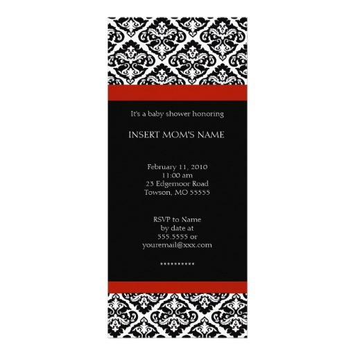black and red chic baby shower invitations