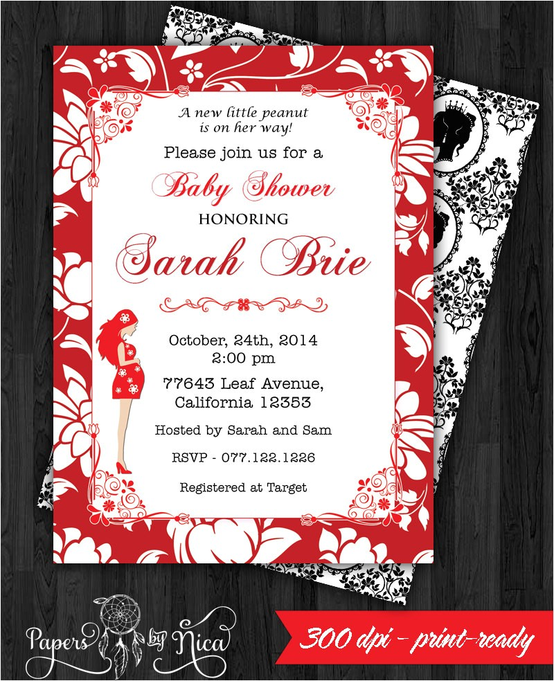 red black baby shower invitation