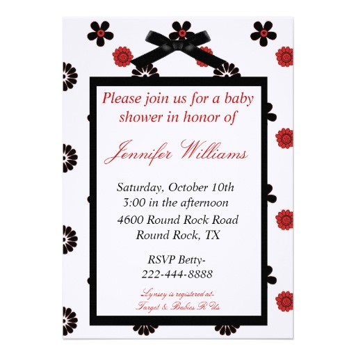 red and black baby shower invitation