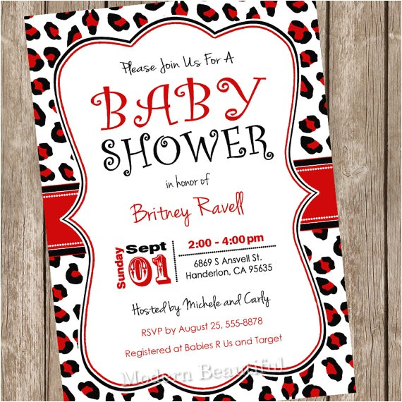 red black leopard baby shower invitation