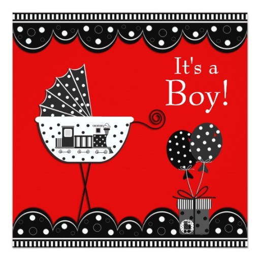 red and black train baby boy shower invitation