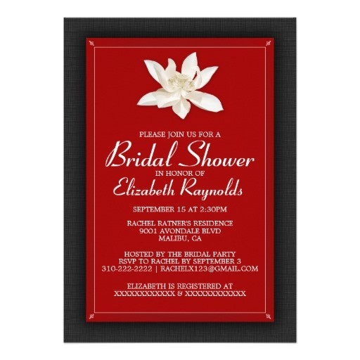 black and red bridal shower invitations invites