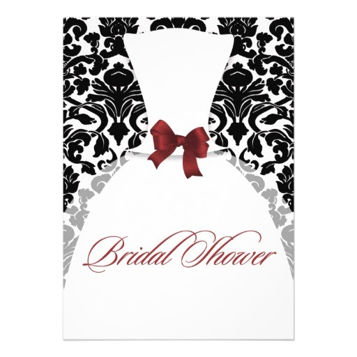 red and black damask bridal shower wedding dress invitation