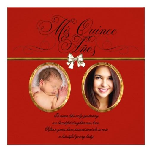 gold red black photo quinceanera invitations 161904343788097733