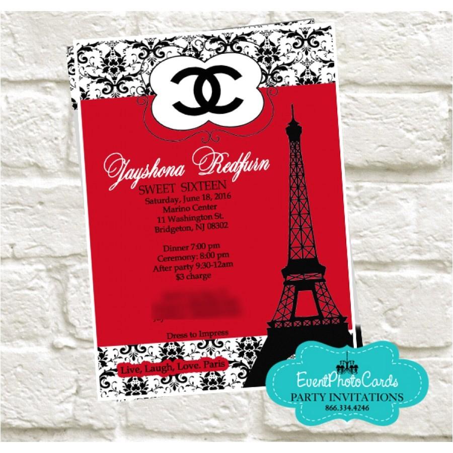 red black paris chanel quinceanera invitations
