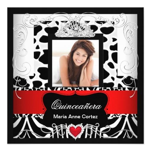 photo quinceanera red white black zebra cow invitation 161077531601354390