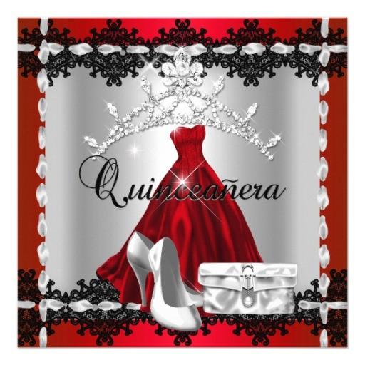 quinceanera 15th red black silver diamond tiara invitation 161091244439582064